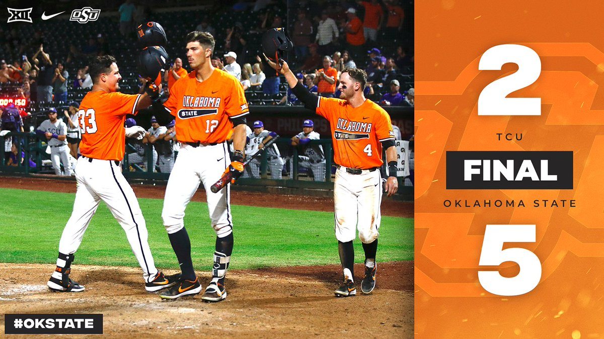 Cowboys Win!! With a victory in its #Big12BSB Championship opener, #okstate advances to winner&#39;s bracket to take on Baylor Thursday night at 7:30 in OKC #GoPokes<br>http://pic.twitter.com/YAXWUotvTo