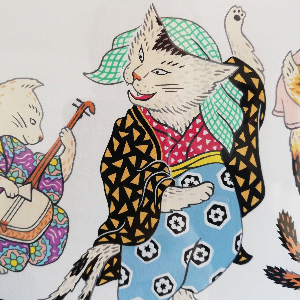 Bakeneko (detail):#SandrineThommen の #ImagesduJapon 展示は5月11日から7月13日まで。:#exhibition #art #shinjuku #tokyo #japan #mimu #triplo #illustration #イラスト #トリプロ #クリエイティブラーニング英会話 #英会話 #新宿御苑前 #新宿 #アート #展示 #thommen