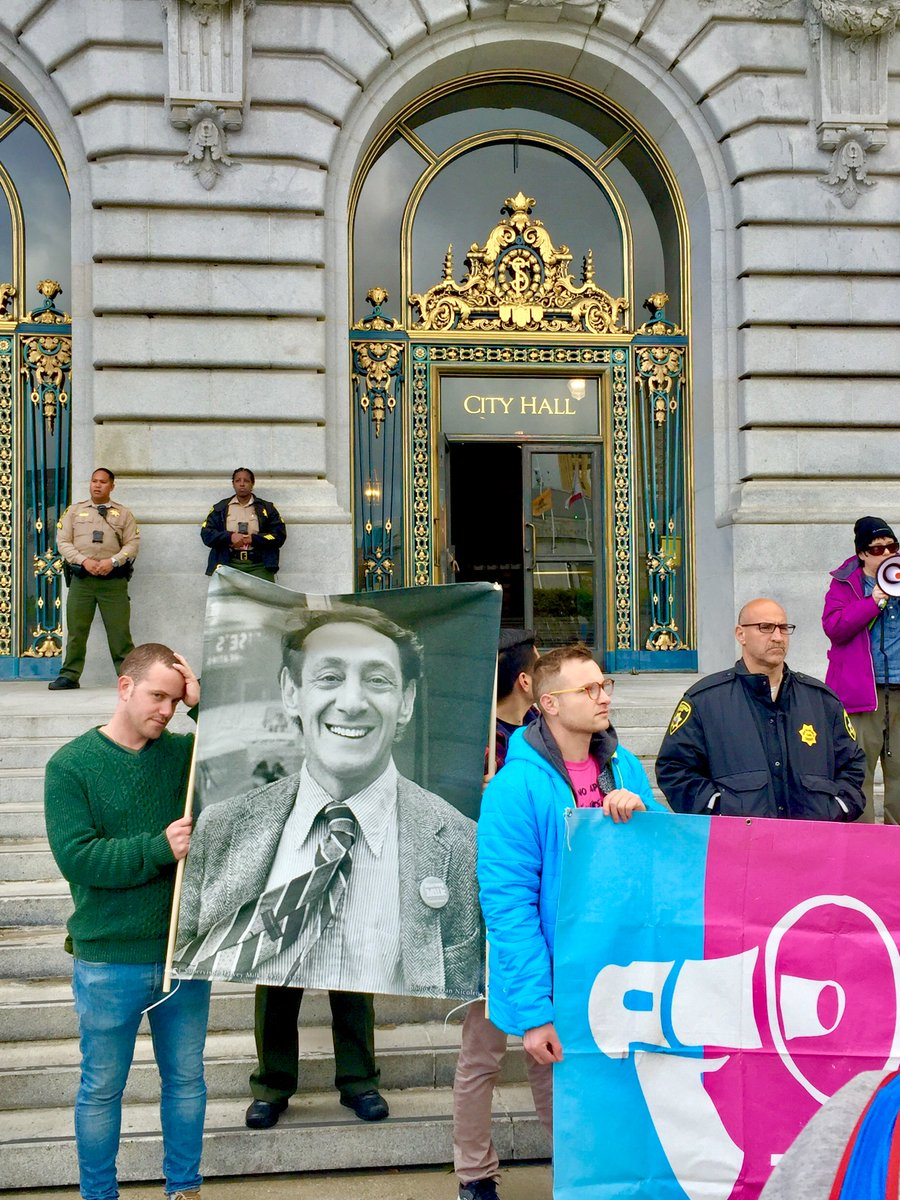 People were there to commemorate Harvey Milk yesterday at SF City Hall.