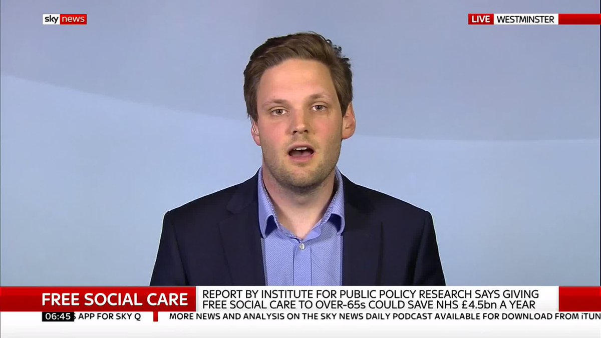 "A study by @IPPR reveals that free social care for over-65s would save the NHS ""4.5bn"" every year.  Senior Research Fellow @harry_qp hopes this report will urge the government to improve #socialcare in the UK.   #Sunrise  Read more about this study here: http://po.st/bN4HPo"