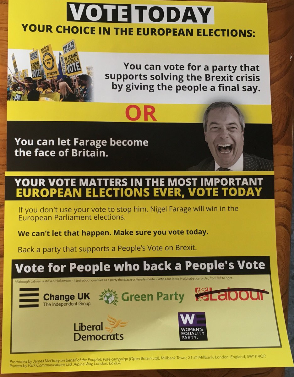 Vote vote vote #EuropeanElection2019 It's so important Remainers get our today & vote for a Stop Brexit party so sorry not Labour this time please! @meNabster #Echo #VoteRemain twitter.com/debbiesimone12…