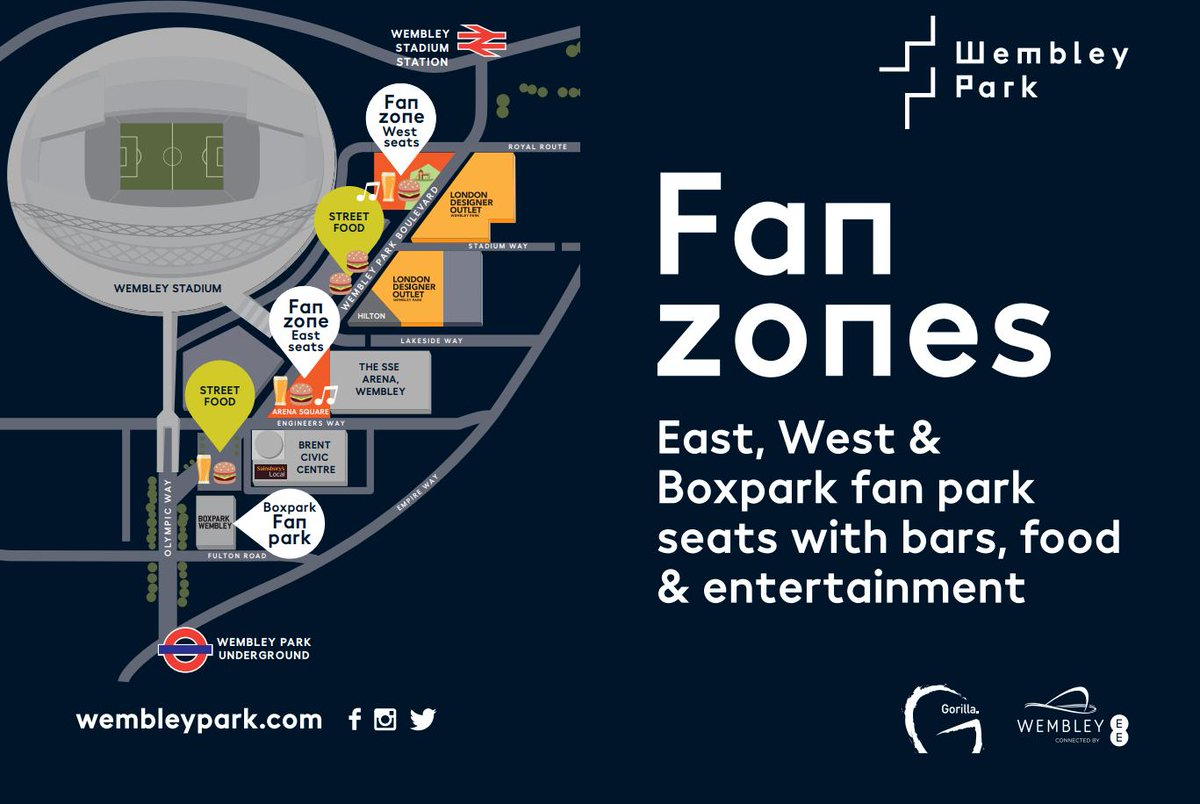 📍 Our Fan Zone at @wembleystadium on Sunday will be at the Arena Square!  Open: 5⃣ hours before kick-off Entry: Free  Head here some pre-match entertainment, drink and food! 🍺🍔🎶   #SAFC