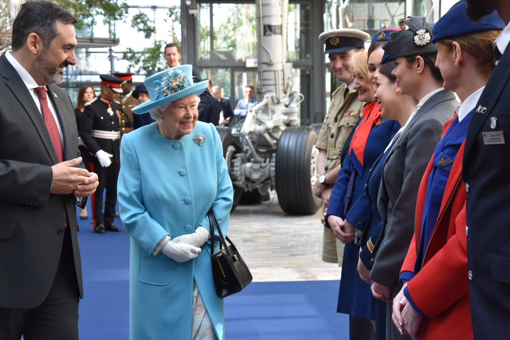 The Queen sees how the @British_Airways uniform has evolved over time – from the 1930s to the present day!