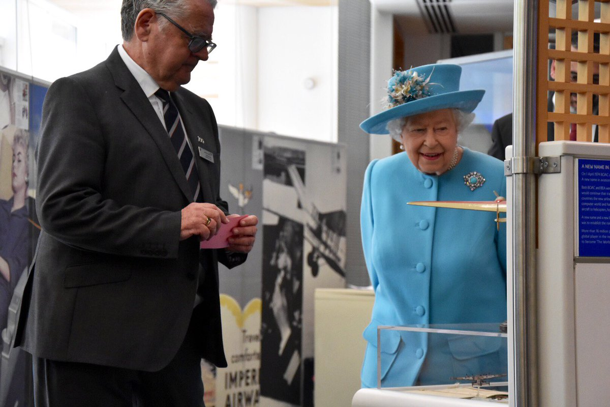 Her Majesty views artefacts from the last 100 years of @British_Airways flights in the company's museum, including aircraft models.