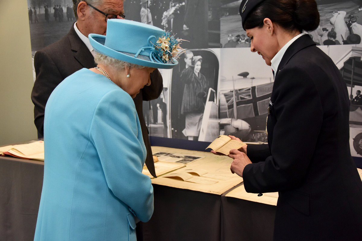 The Heritage centre includes The Queen's first ticket for a long haul flight after her Coronation, which was with The Duke of Edinburgh to Jamaica 🇯🇲.