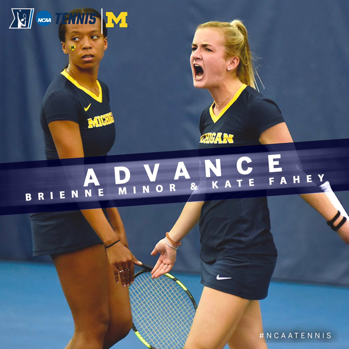 In the Second Round of the @NCAATennis Women's Doubles Championship, Kate Fahey & Brienne Minor of @UMichWTennis advanced to the Quarterfinals with a 6-2, 7-6 win over a team from UCLA. #B1GWTennis