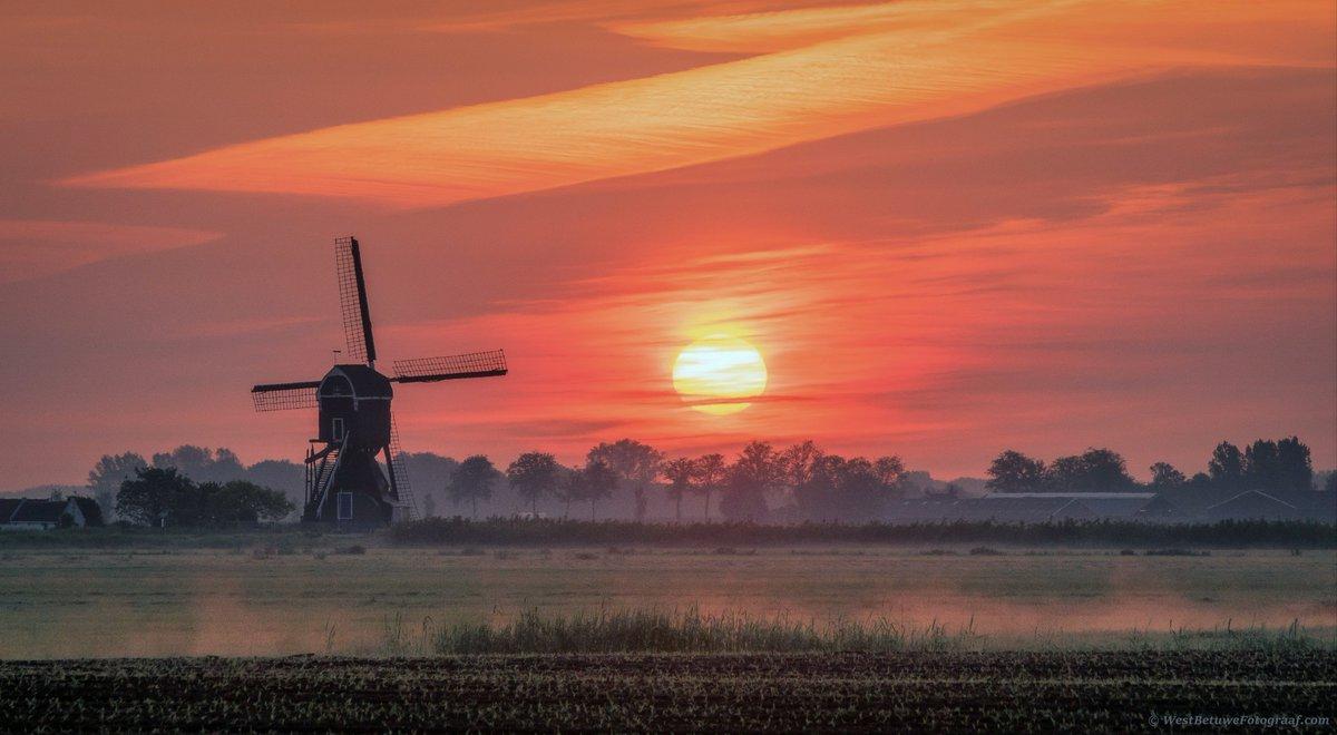 Fraai begin van de #dag in de #Betuwe vanochtend. Foto is gemaakt door @westbetuwefoto. #weather #photography #sun #sunrise #Holland #netherlands #Europe #windmill #color