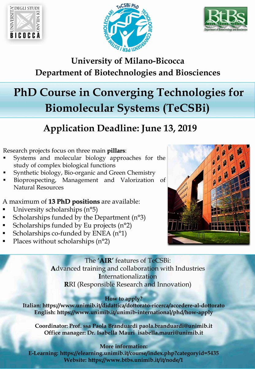 #PhD #TeCSBi @BtBsUNIMIB @unimib calls are now open