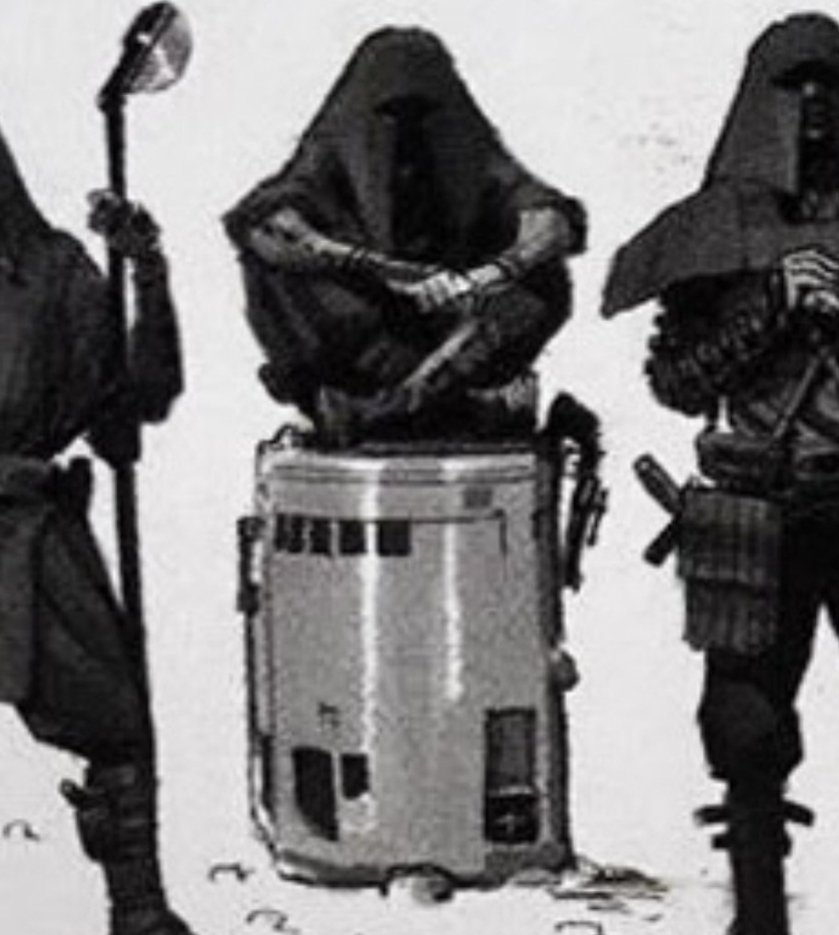 I&#39;ve had it pointed out to me multiple times that the man in this image is in fact sitting cross-legged on top of that cylinder and not oscar-grouching up out of it but I still want the knight of ren hovering around with arms folded and his lower body encased in a trash can <br>http://pic.twitter.com/R8SPAlnoFQ