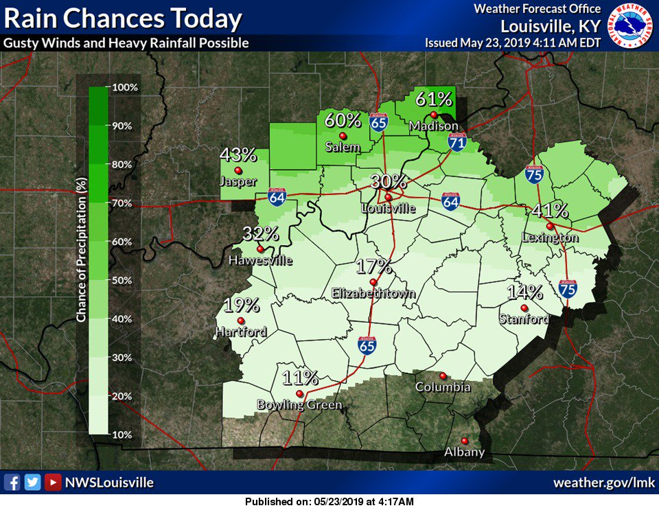 Best chance for storms along and north of I-64 today. Heavy rainfall and brief gusty winds main threats. #lmkwx #inwx #kywx