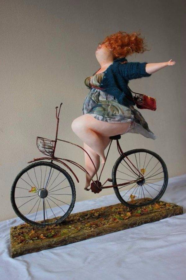 Открытку, картинки девочки на велосипедах смешные