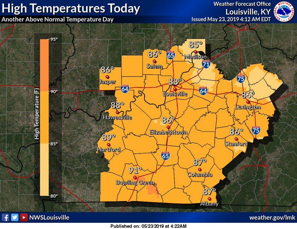 Expect another warm day, with temperatures about 10 degrees above where they should be for this time of year. #lmkwx #inwx #kywx