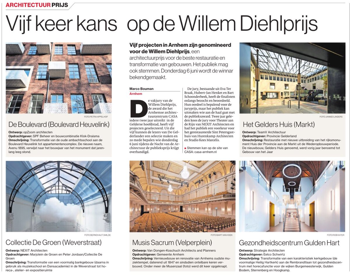 Als u vandaag gaat stemmen voor Europa, stem dan gelijk ook op de Willem Diehlprijs via casa-arnhem.nl, twee van onze kunst- & cultuurcollega's zijn genomineerd: Musis en DE.GROEN @CASAarnhem @MusisenSTArnhem #collectiedegroen #madeinarnhem