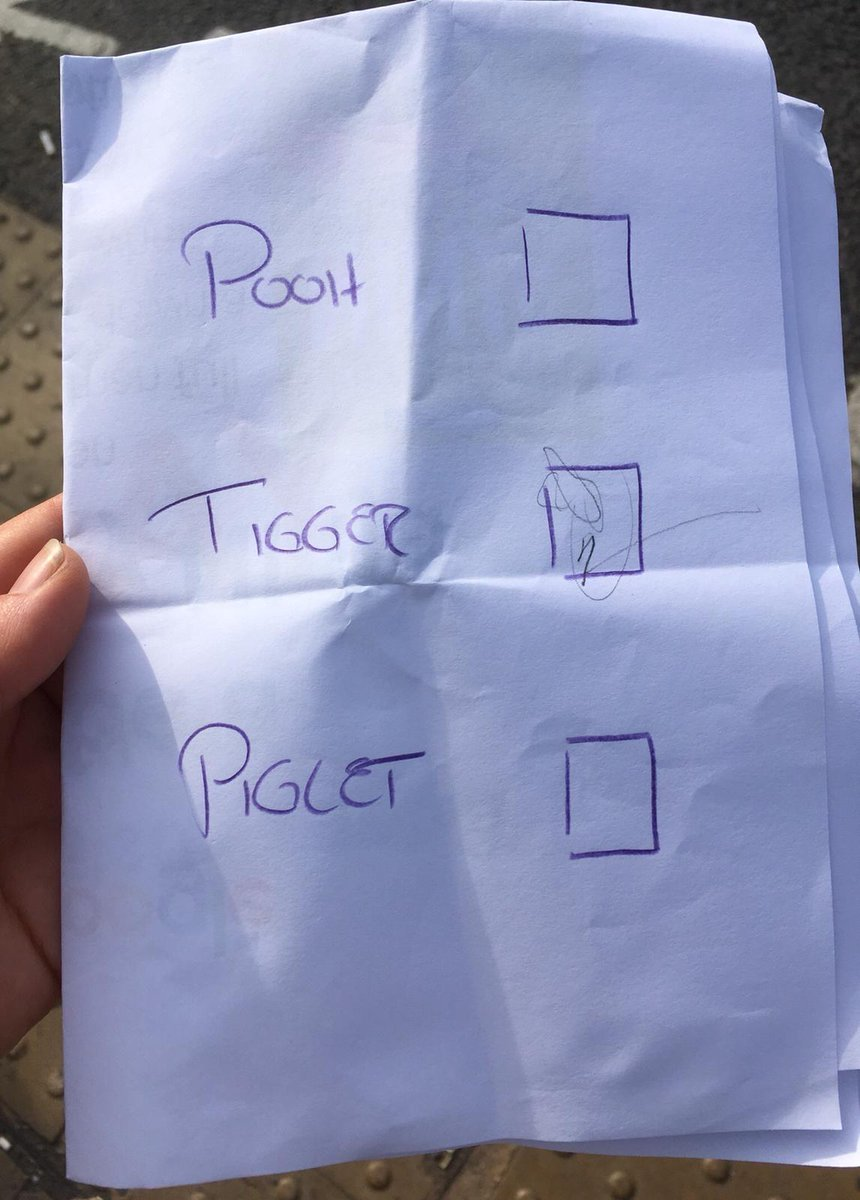 We took our 2-year-old to vote this morning. She wanted to join in, so we made her a voting slip of her own. Manifestos as follows:    - HONEY FOR ALL  - MORE BOUNCING  - UNIVERSAL ACCESS TO HAYCORNS   She told us who she voted for, to make sure we all do lots of bouncing later.