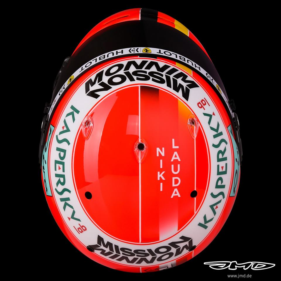 Sebastian Vettel's helmet design for Monaco is dedicated to Niki Lauda ❤  🎨 @JMD_helmets   #MonacoGP 🇲🇨 #Seb5 #F1