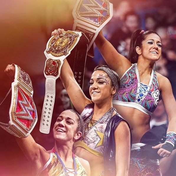 Congrats to the first @wwe Women's Triple Crown Champion, @itsBayleyWWE!