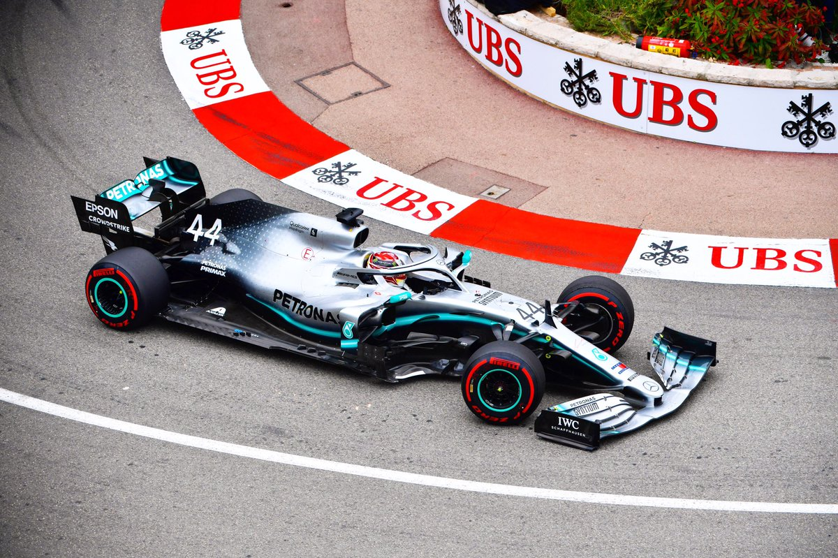 Logging our first #MonacoGP laps of the weekend. Lewis setting the pace early in #FP1 - with VB 0.142s back in P2