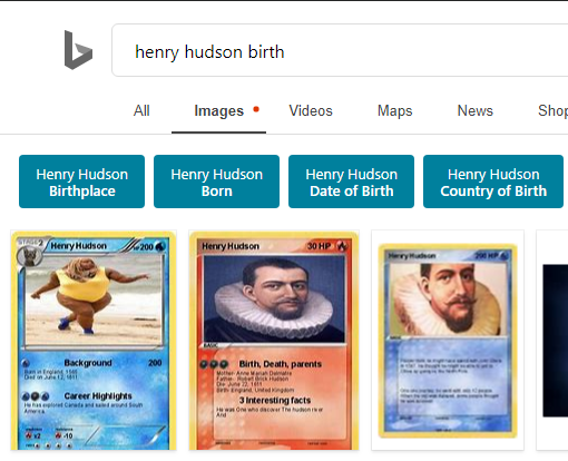 Someone out there really enjoyed making Pokémon cards of Henry Hudson. #BingOddities<br>http://pic.twitter.com/MCEbtBmL3Z