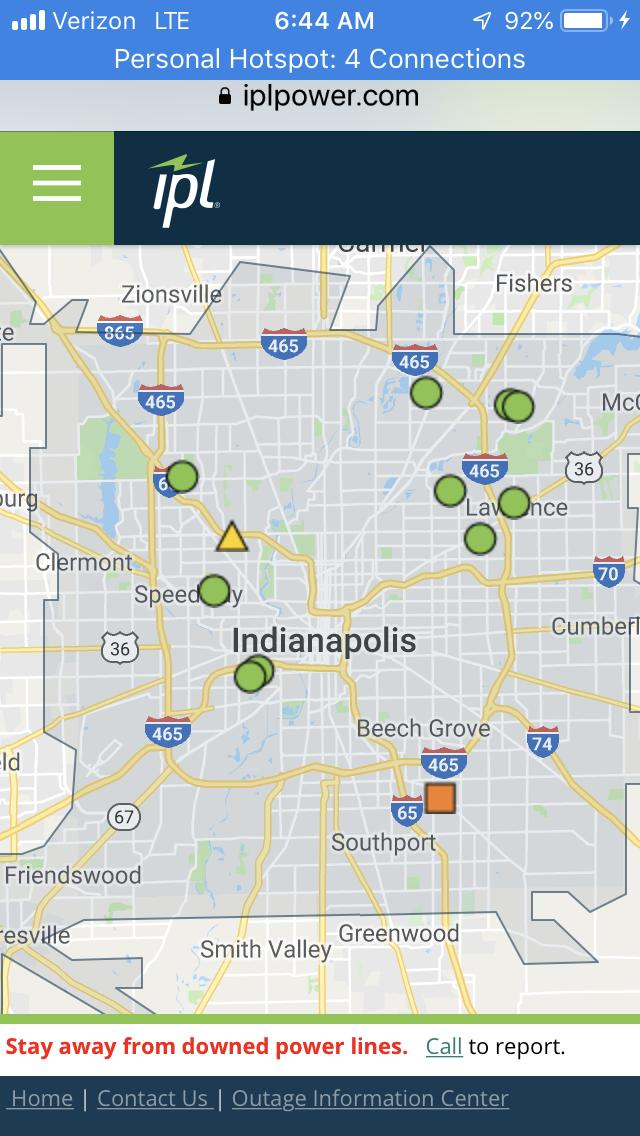 POWER OUTAGES: IPL is reporting that over a 1,000 customers in &amp; around Marion Co. are without power after this morning's storm. The majority of them are near the 38th St / Lafayette Rd area. #NewsTracker #Daybreak8 <br>http://pic.twitter.com/gHJsqEuRZI