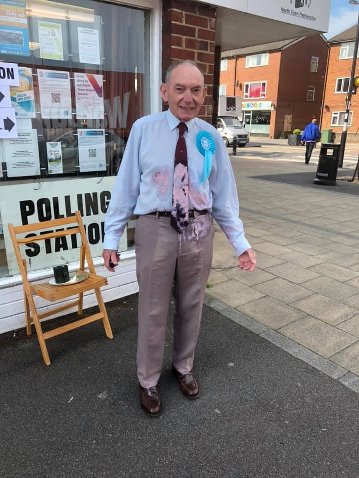 This elderly gentleman served in the British armed forces for 22 years.  Today he was manning a Brexit Party polling station when he was attacked & had milkshake thrown all over him.  All because he wants the result of a democratic referendum to be honoured.  Disgusting.