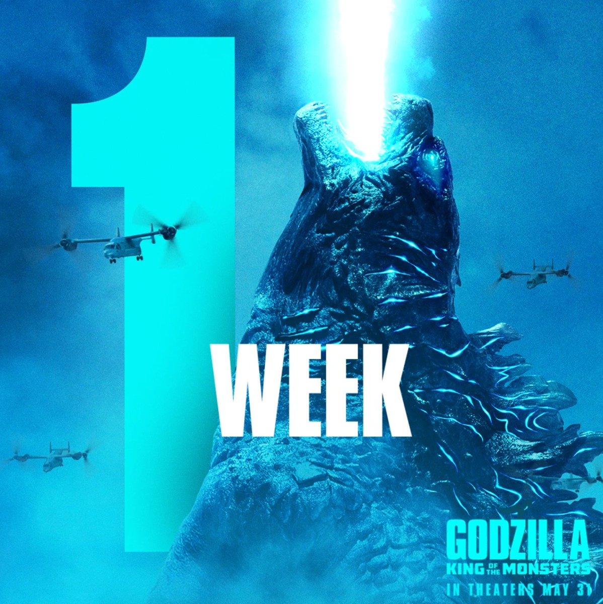 HEAR. HIM. ROAR. #GodzillaMovie in theaters in 1 WEEK. Get advance tickets now: Fandango.com/godzillamovie