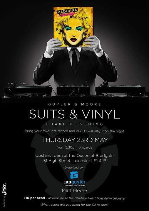 We're pleased to support the #Leicester Suits and Vinyl charity evening tonight at The Queen of Bradgate; sure there'll be some great music and lots of fundraising for Glenfield Heart Hospital #charity #tunes #allinaspin