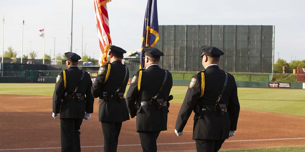 Who was at the @tbonesbaseball home opener game on Friday? The Honor Guard in the #KCFed's Law Enforcement team were proud to present the colors during the pre-game ceremonies!