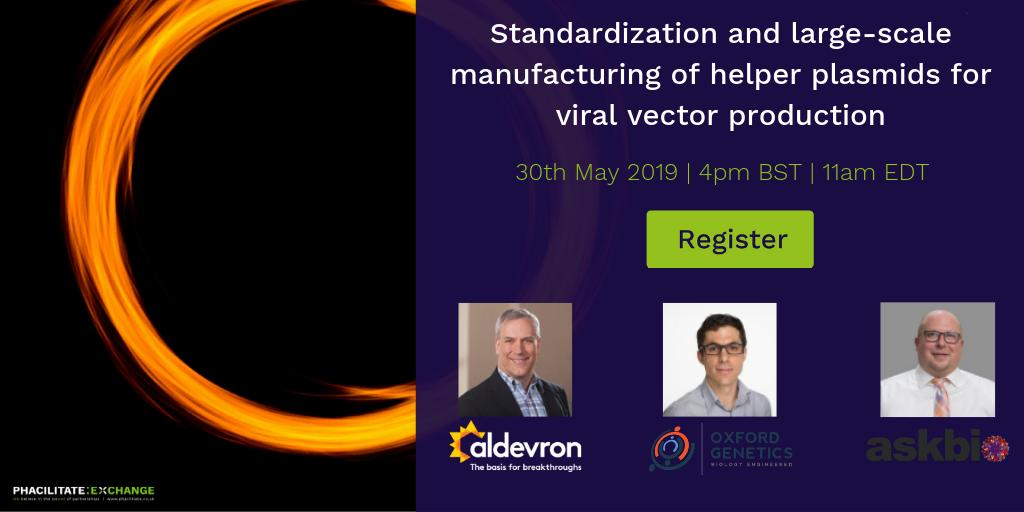[FREE WEBINAR] Helper plasmids for viral vector production. We're excited to be working with @aldevron @OxfordGenetics & AskBio on 30th May on this really interesting webinar! Register your spot here: http://ow.ly/IJTk50u9Im6  #webinar #advancedtherapies #viralvectors #genetherapy