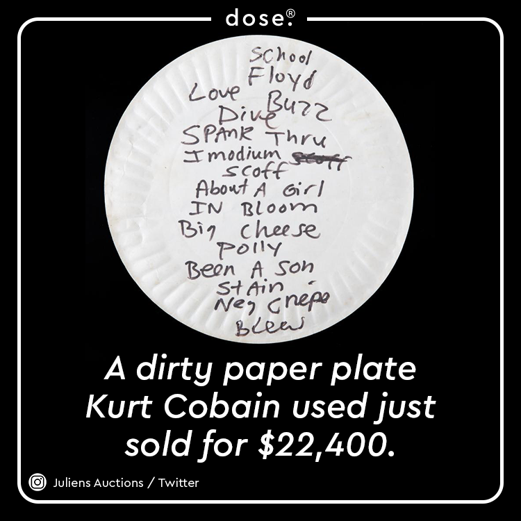 Kurt Cobain used the pizza plate to jot down the set list before a show at the 9:30 Club in DC on April 23, 1990.