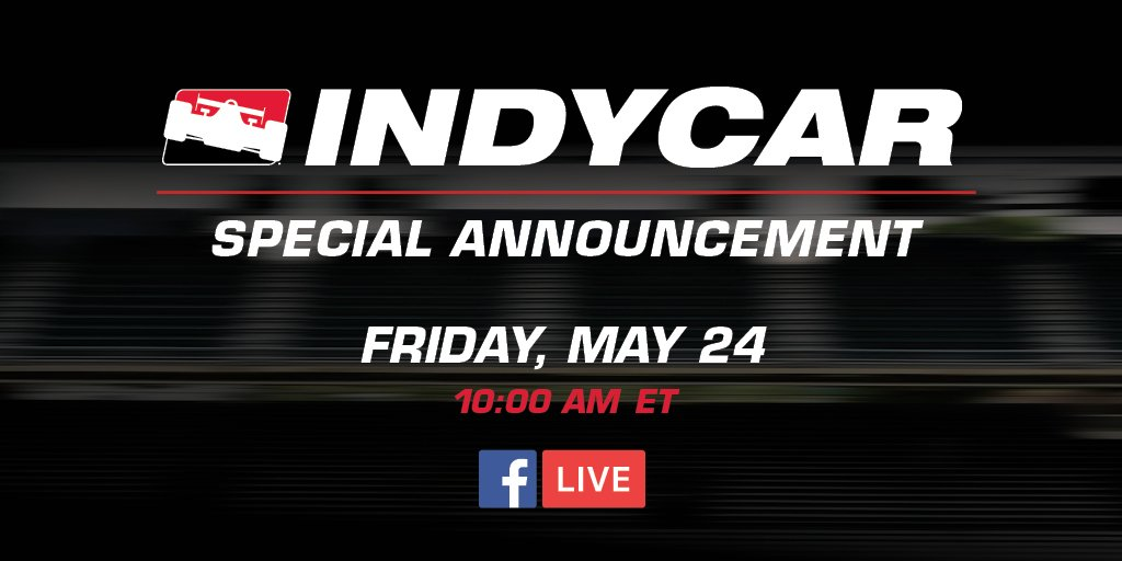 Were kicking off #CarbDay with a special announcement at @IMS 👀 Watch it live ➡️ bit.ly/2Ev3mpP #INDYCAR // #ThisIsMay