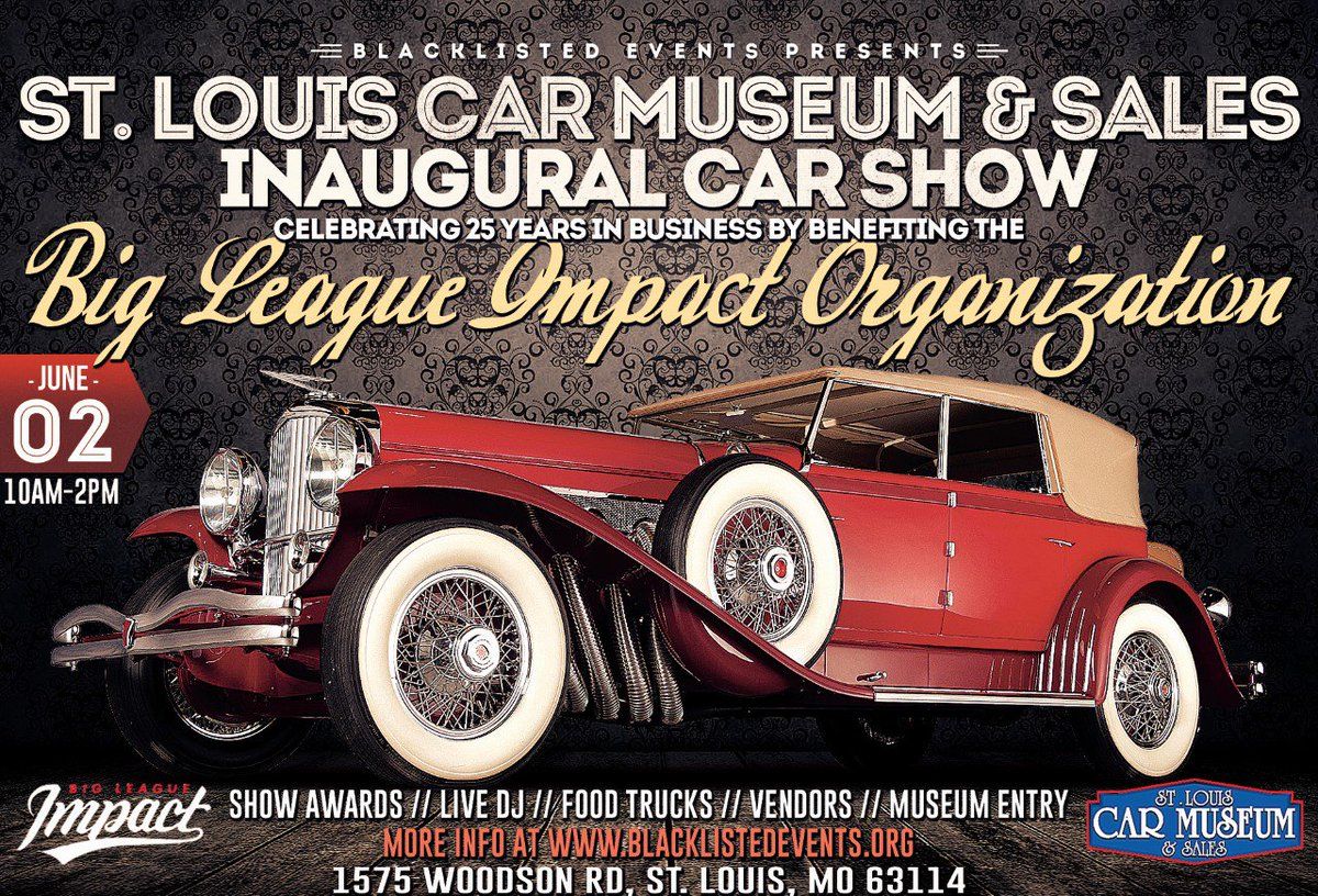 June 2 is your chance to give back to @BigLeagueImpact! Live DJ, @CardinalsNation Food Truck, a basket raffle featuring a signed Adam Wainwright painting, FREE access to our 100+ classic car museum, endless vendors &amp; CAR SHOW AWARDS!   RSVP/Register! -  http:// bit.ly/STLCM2019CarSh ow &nbsp; … <br>http://pic.twitter.com/z5kavTUz23