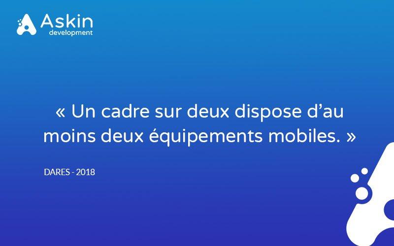 """[Le saviez-vous ?] #Responsive 📱 #Development 🛠 #WebApp 💻 """"Un cadre sur deux dispose d'au moins deux équipements mobiles.""""  👉 https://t.co/nh7qyaoe4W https://t.co/WbVNa0ALHj"""
