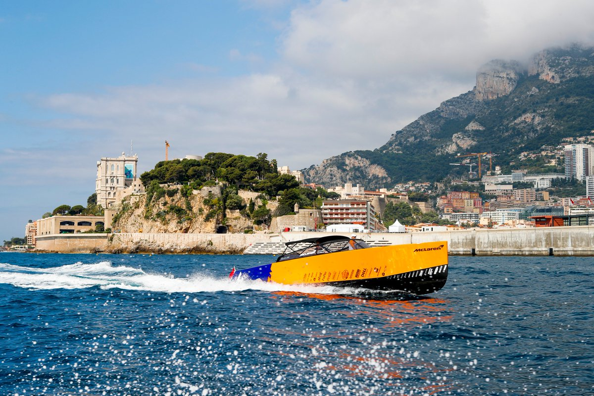 The best way to get around Monaco (aside from a @F1 car). 🧡😍  Loving these MCL34 themed yachts from the team at #VanDutch. Keep an eye out for them across the weekend. #MonacoGP 🇲🇨