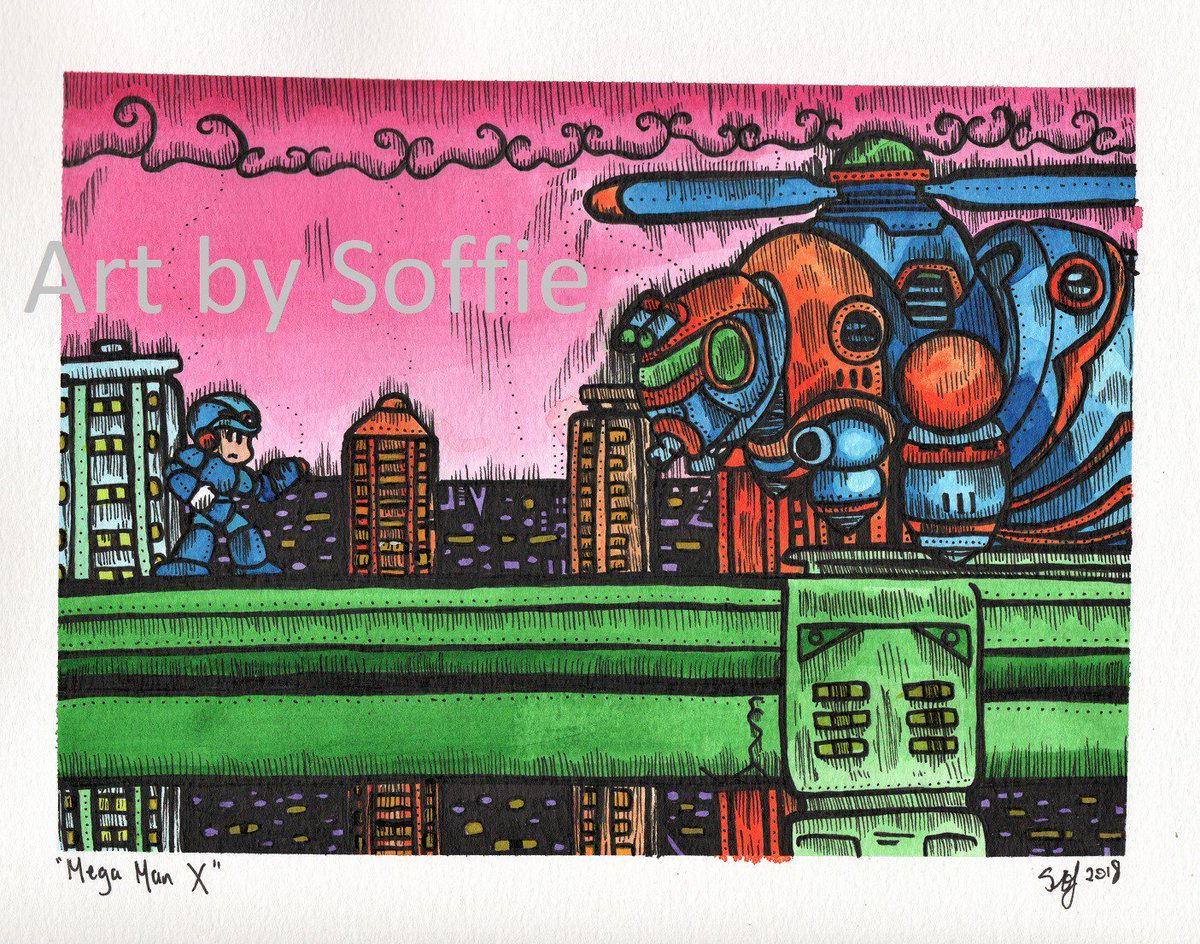 Giveaway time AGAIN!!  This time I'm pleased as poop to announce the ridiculously talented @Sailor_Soffie is giving away an incredible #MegaMan X print for #MegaManWeek!  1 Follow @Sailor_Soffie  2 Follow me 3 RT this post  That's it. You're in! Winner announced on #SNESFriday. https://t.co/89tySBPMqw