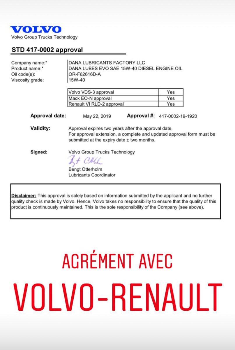 DANA LUBRIFIANTS : Le nouvel agrément avec Volvo et Renault! dans - - - Actualité lubrifiants automobiles D7QIh-KW0AAAVU3