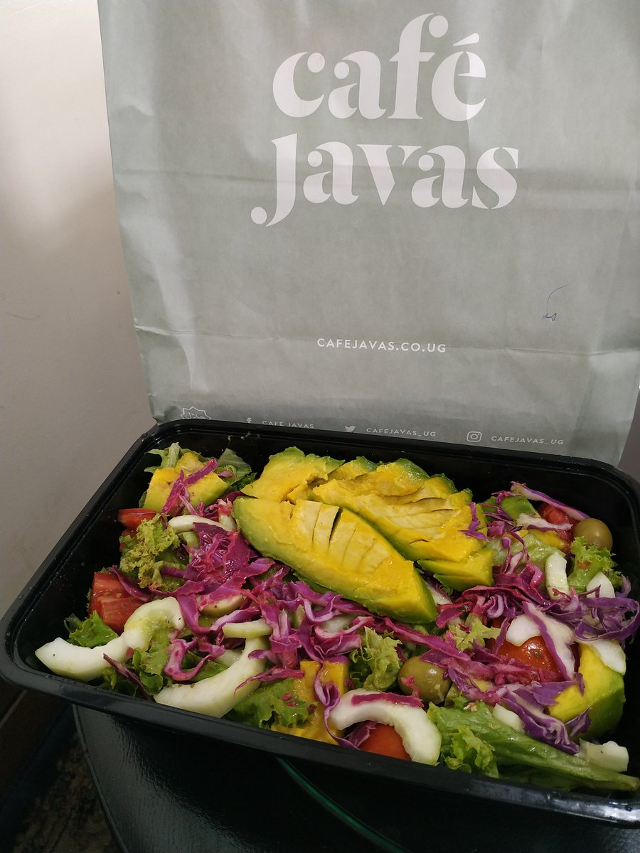 If you want a healthy meal, try the garden salad with extra avocado from @cafejavas_ug. Fatty foods like avocado, nuts and seeds make it more likely for you to enjoy the salad. And by the way fat is very important in helping you become and staying satisfied. #healthyeating
