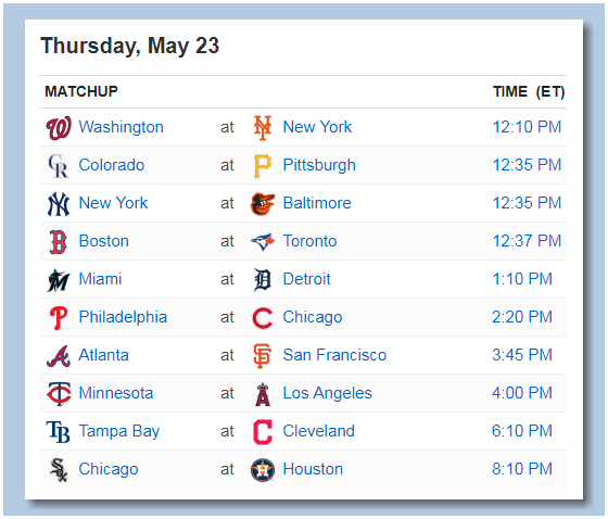 Here's the #MLB schedule for Thursday, May 23rd - PLAY BALL!!!