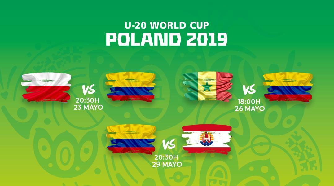 ¡Hoy debuta Colombia 🇨🇴! El calendario de partidos de los cafeteros en la fase de grupos del Mundial Sub-20. #U20WC