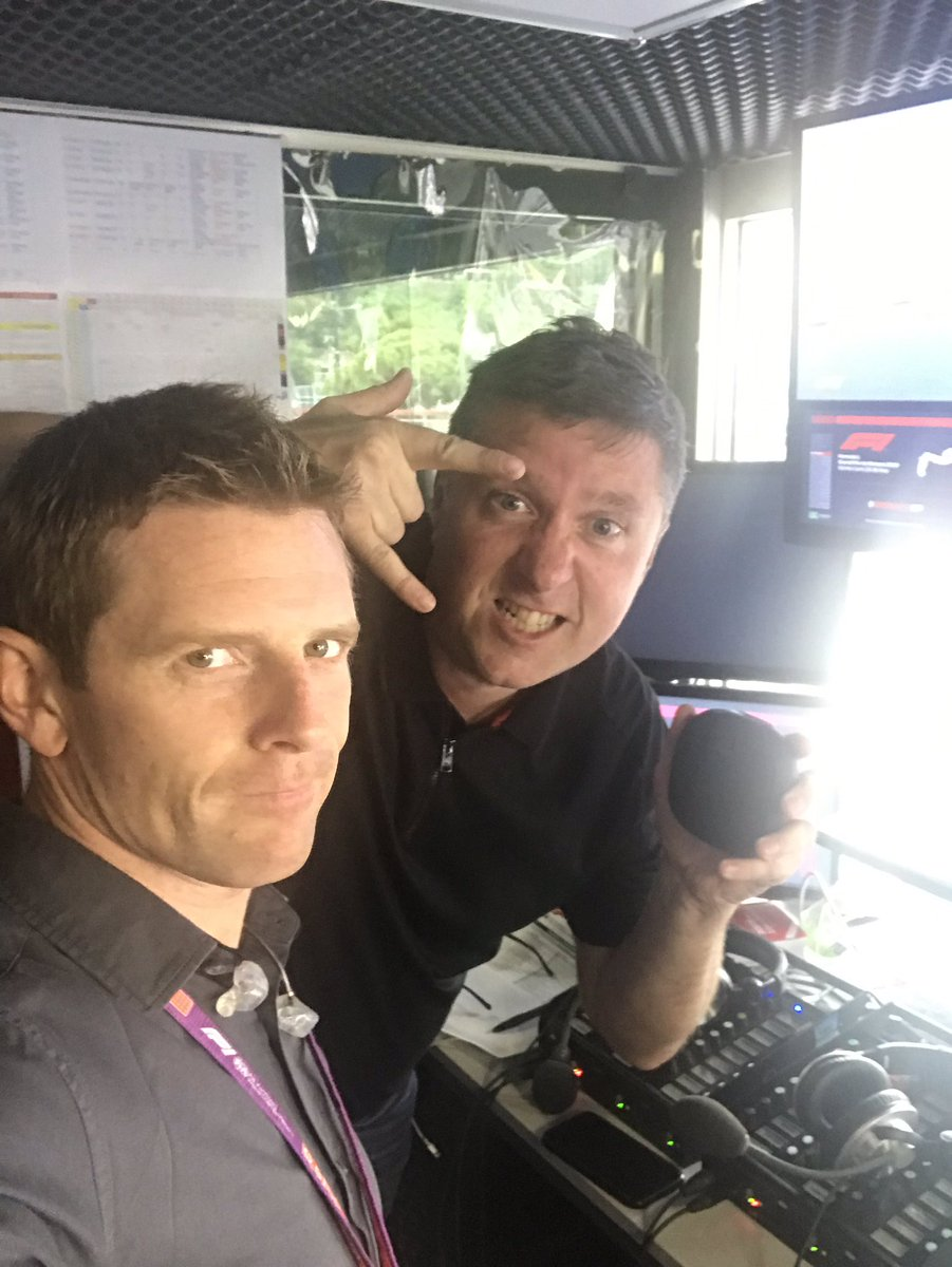 Getting ready for the #MonacoGP FP2 session with @CroftyF1 who's currently drowning out the comms box with his metalcore 'music'...
