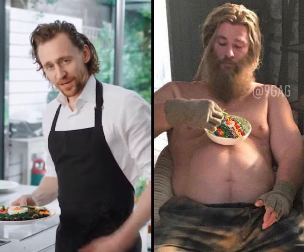 How to get Thor to eat a salad #AvengersEndgame @chrishemsworth @twhiddleston