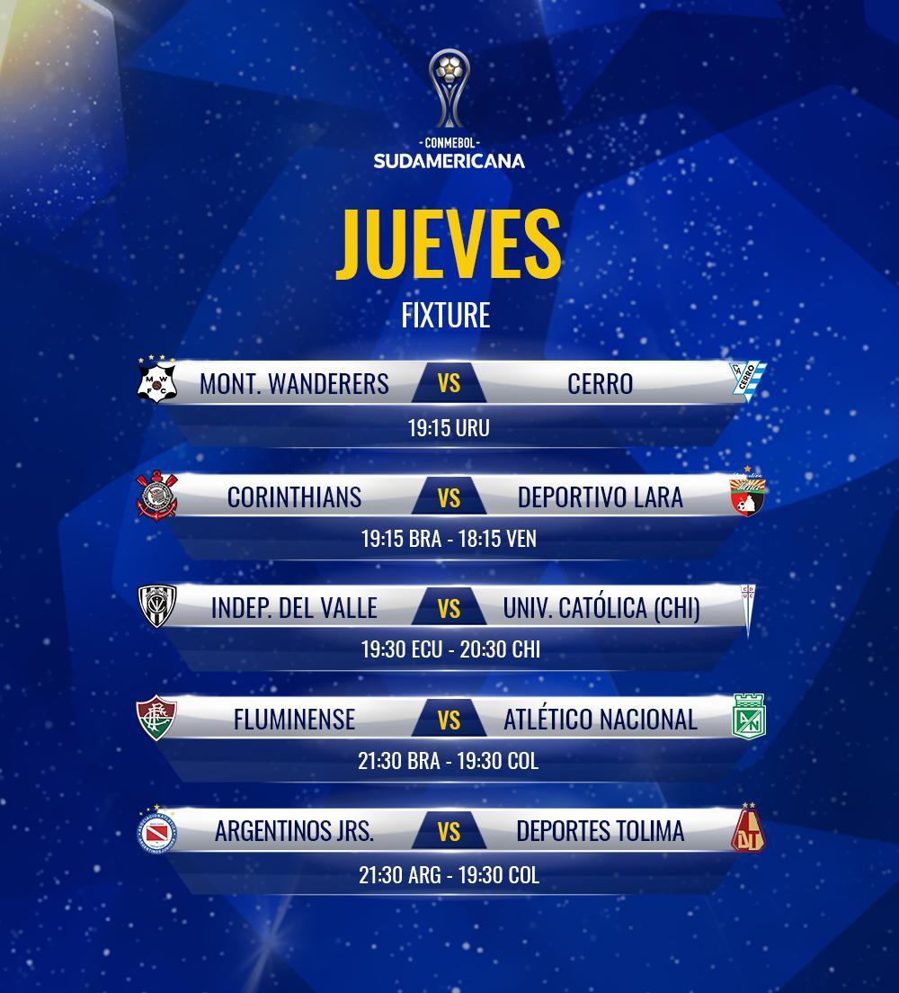 🙌 ¡Jueves de #Sudamericana! Se completan los partidos de ida de la Segunda Fase. Una noche con 5⃣ encuentros que promete.