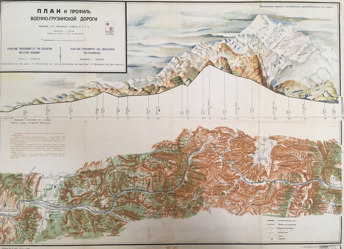 Innovative 1920s #map and topographical view of the military highway in Georgia (the country) in three languages. #maps #dataviz #Georgia <br>http://pic.twitter.com/guaopS4XRC