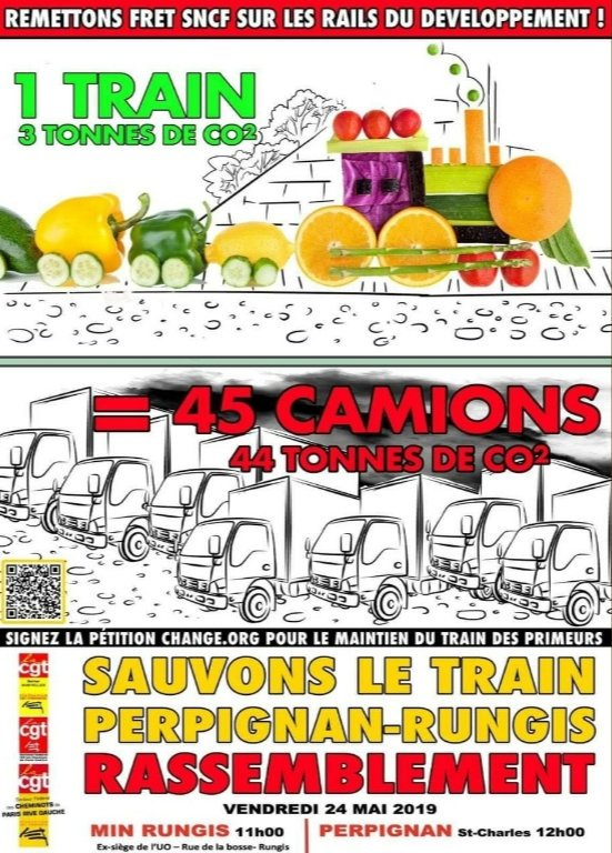 Demain 24 mai, à #Rungis (rue de la Bosse) à 11h, à #Perpignan (Saint-Charles) à midi ! #SauvonsLeFretSNCF