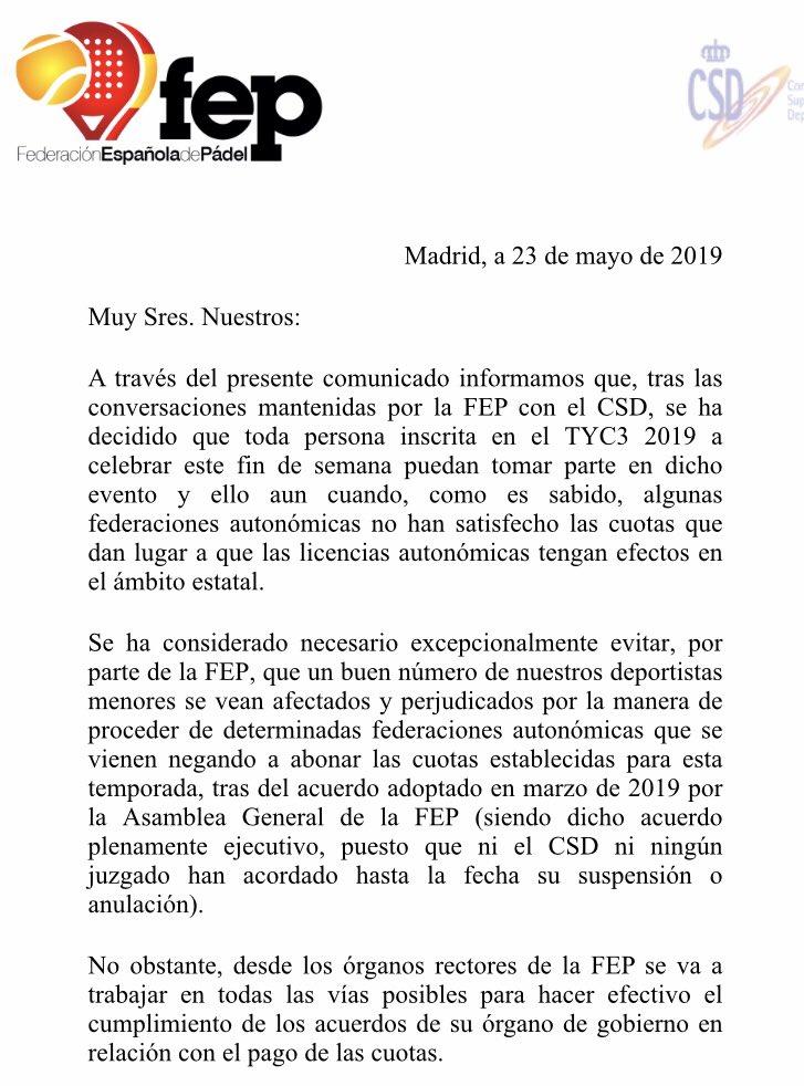 La FEP permitirá participar a todos los menores en el TyC de Madrid 0