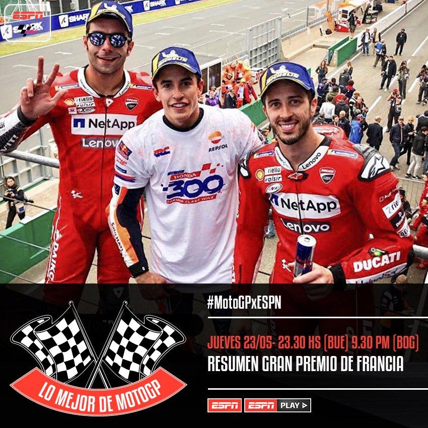 """#MotoGPxESPN ¡Esta noche te esperamos con """"Lo Mejor de #MotoGP"""" con el análisis del #FrenchGP! Los triunfos de los Márquez y el podio de Ducati estarán en el programa que conducen @MartinUrruty y @MoreaGustavo."""