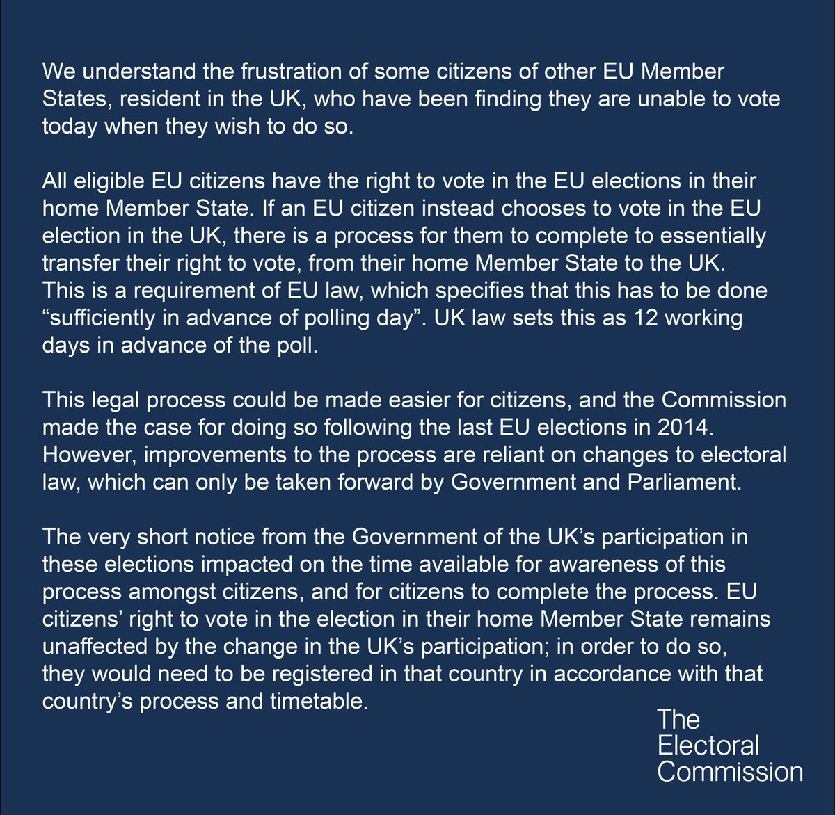 We're aware that some EU citizens, resident in the UK, have been unable to vote today and understand the frustration this has caused. Here's our statement: https://www.electoralcommission.org.uk/i-am-a/journalist/electoral-commission-media-centre/to-keep/electoral-commission-statement-regarding-eu-citizens-being-unable-to-vote-in-the-european-parliament-elections…
