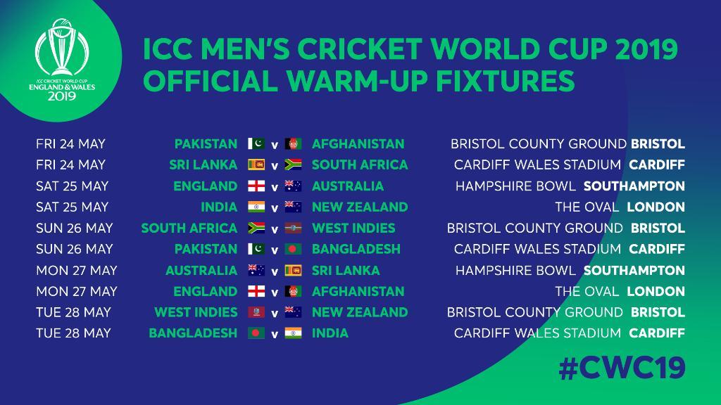 Icc cricket world cup  fixture list