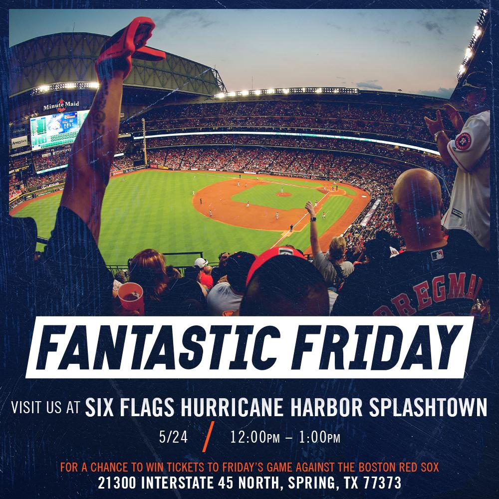 Tomorrow is #FANtasticFriday!Stop by Six Flags Hurricane Harbor Splashtown on Friday from 12-1pm for a chance to win tickets to that night's game!