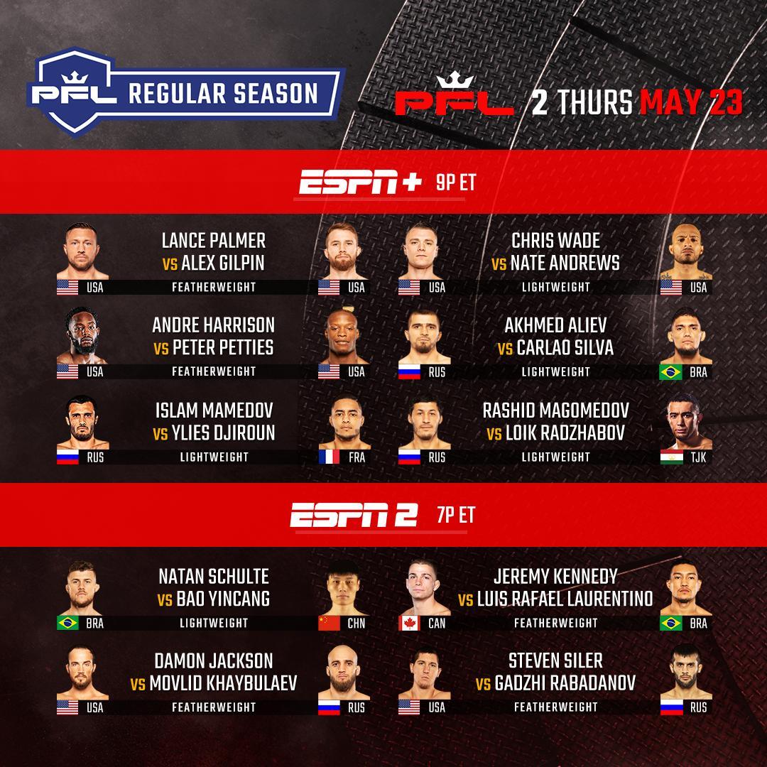 FIGHT DAY!   Featherweights and lightweights start their 2019 #PFLmma Regular Season tonight on @ESPN+ and #ESPN2. #PFL2