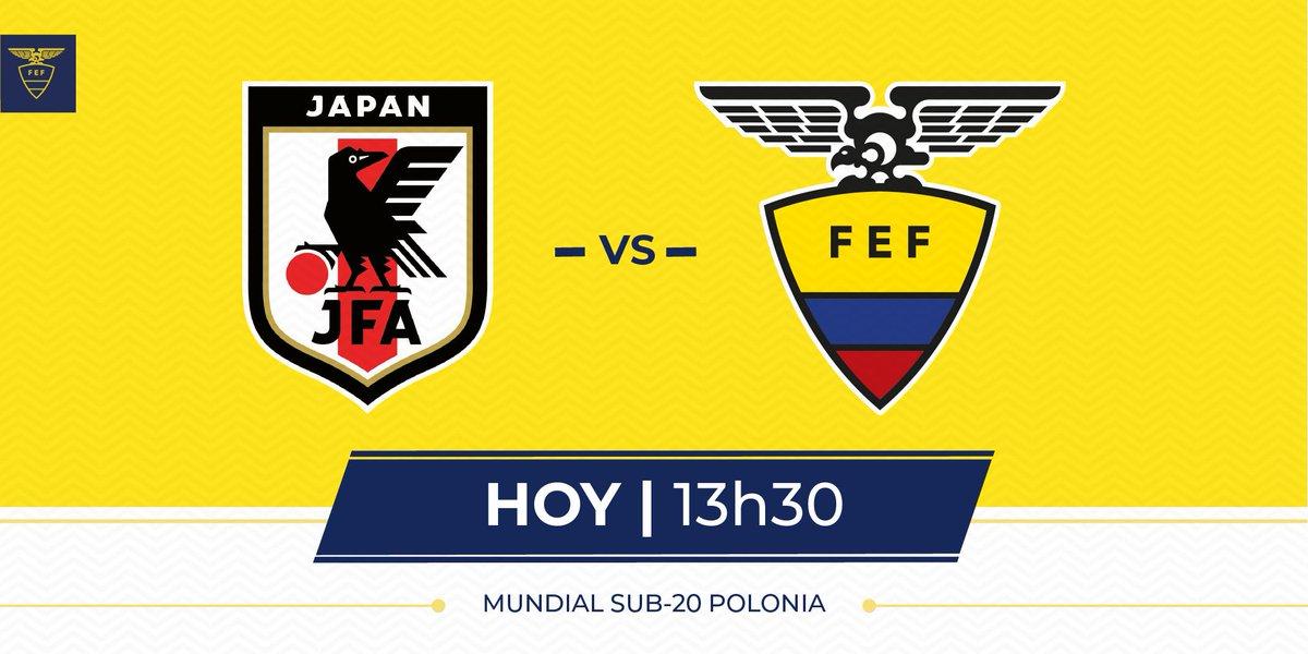 ¡Debut Tricolor!   La selección ecuatoriana de fútbol sub20 se encuentra lista y preparada para el primer partido ante Japón 🇯🇵 en el mundial de Polonia 🇵🇱. #MiTriMundial #U20WC 🇪🇨
